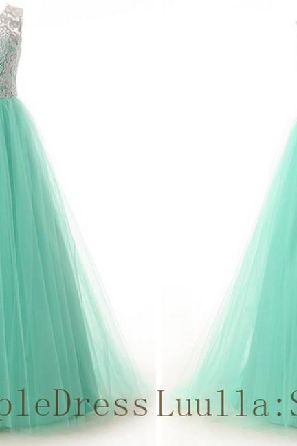Light green A line lace tulle cap shoulder full length prom dress Bridesmaid Dresses Evening Dresses A1