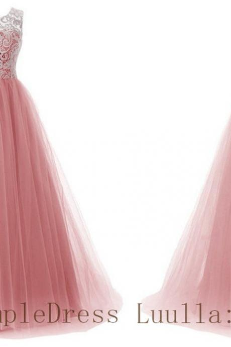 A line lace tulle cap shoulder full length prom dress Bridesmaid Dresses Evening Dresses A1