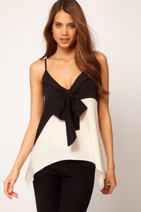 Chest black bow hit color black and white asymmetrical Diao Daishan chiffon shirt shirts