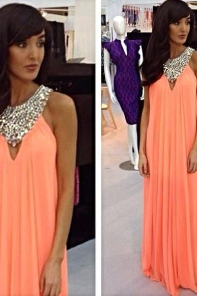 chiffon prom dress, simple prom dress, modest prom dress, charming prom dress, custom prom dress, evening dress, BD273