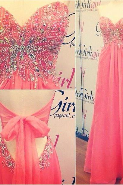 watermelon prom dress, sweet heart prom dress, beading prom dress, formal prom dress, backless prom dress, evening dress, BD278