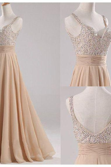floor-length prom dress, bridesmaid dress, off shoulder prom dress, modest prom dress, champagne prom dress, custom bridesmaid dress, BD284