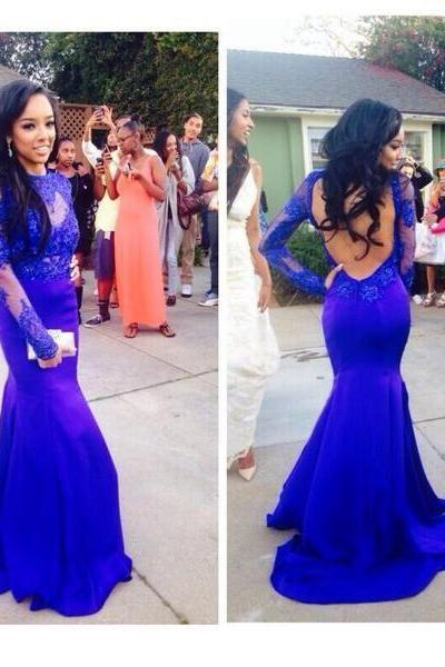 royal blue prom dress, sexy prom dress, 2015 prom dress, evening dress, long sleeve prom dress, backless prom dress, prom dress, BD287