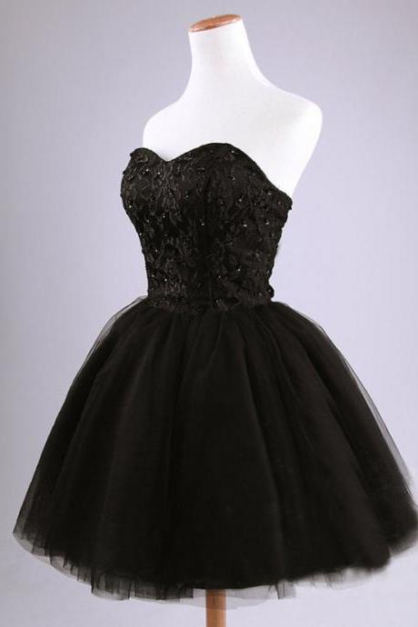 Black Short Cocktail Dresses,Ball Gown Sweetheart Backless Party Dress,Prom Dresses,Lace Tulle Mini Homecoming Dresses