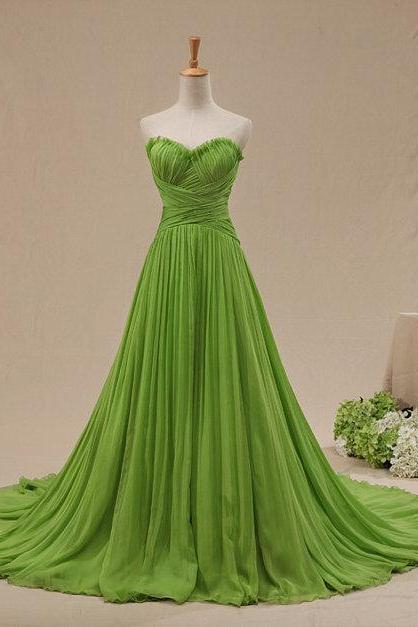 2016 Fashion Green Evening Dresses,Long chiffon Party Dresses,Formal Gowns,Sweetheart A-line Pleat Specail Occasion Dresses