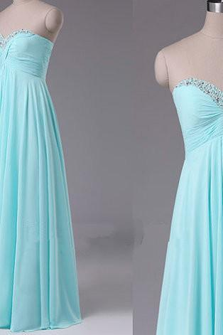 Pretty Simple Sweetheart Beadings Long Bridesmaid Dresses, Mint Prom Dresses, Simple Prom Dresses, Evening Dresses(#43 from our color chart)