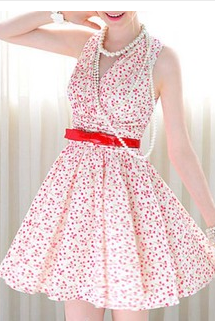 In The Summer Of 2015 The New White/Pink Cherry Blossoms Fold Posed Sleeveless Dress The Waist HGYG