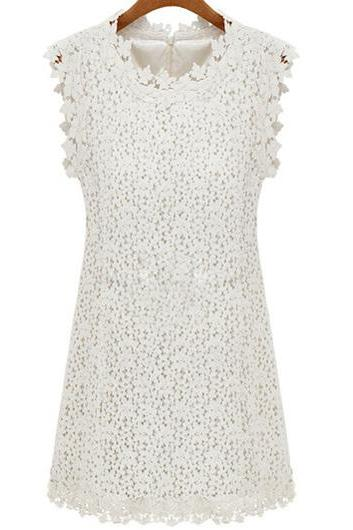 High Quality Lace Splicing Sleeveless Dress with Zipper