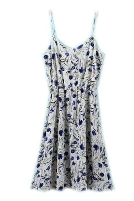 Spaghetti Strap Floral Summer Dress with V-neck