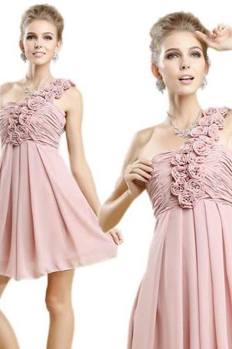 Bridesmaid dress, short bridesmaid dress, one shoulder bridesmaid dress, chiffon bridesmaid dress, blush pink bridesmaid dress, BD289