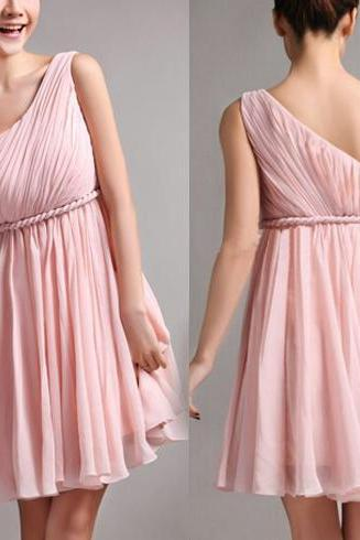 Bridesmaid dress, short bridesmaid dress, one shoulder bridesmaid dress, cheap bridesmaid dress, blush pink bridesmaid dress, BD291