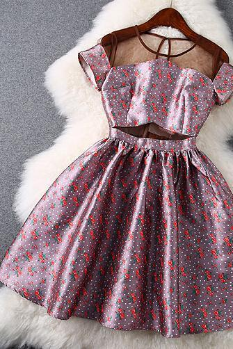 Fashion Printed Gauze Cultivate One's Morality Show Thin Dress
