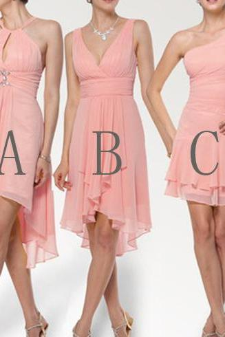 peach bridesmaid dress, short bridesmaid dress, bridesmaid dress, on sale bridesmaid dress, mismatched bridesmaid dress, BD295