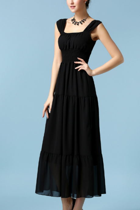 Chiffon Dress--Black