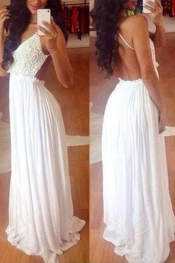 Fashion Open Back White Lace Splicing Chiffon Dress