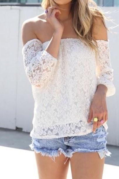 White Lace Off-The-Shoulder Long Sleeves Blouse