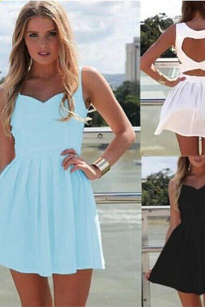Heart Back Pleated Dresses