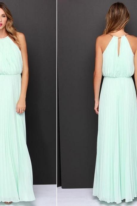 Long Sexy, Soft Aqua Chiffon Maxi Dress with O-Neck (available in 2 colors) - size S, M, L, XL