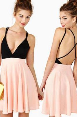 Nasty Gal Sexy SWEETHEART Dark Delight PINK Plunge SKATER Black Peach Dress