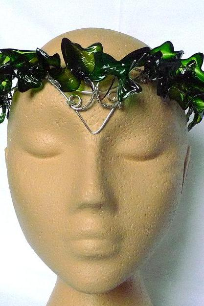 Ivy crown in green and silver, winter wedding, christmas, handmade