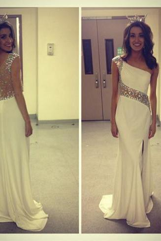 One shoulder prom dress, ivory prom dress, prom dress 2015, popular prom dress, occasion dress, modest prom dress, prom dress, BD301