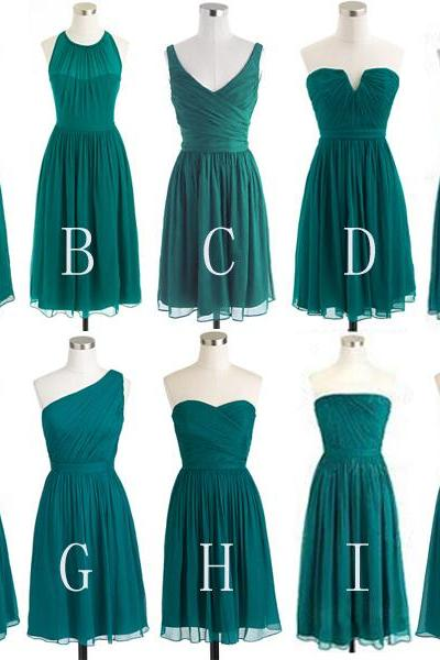 teal green bridesmaid dress, short bridesmaid dress, occasion dress, bridesmaid dress, chiffon bridesmaid dress, simple bridesmaid dress, dress for wedding, mismatched bridesmaid dress, BD302