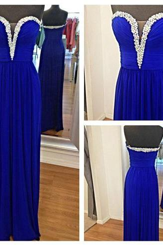 royal blue prom dress, sweet heart prom dress, handmade prom dress, prom dress 2015, sleeveless prom dress, elegant prom dress, BD303