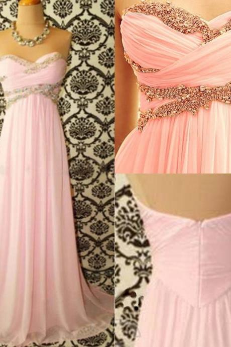 pink prom dress, sweet heart prom dress, modest prom dress, prom gown, custom prom dress, cheap prom dress, BD304