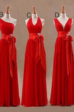 red bridesmaid dress, bridesmaid dress, long bridesmaid dress, chiffon bridesmaid dress, mismatched bridesmaid dress, cheap bridesmaid dress, BD318
