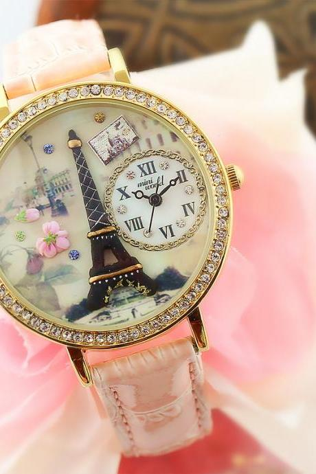 Eiffel Tower Rhinestone Fimo watch Ms. fashion watch
