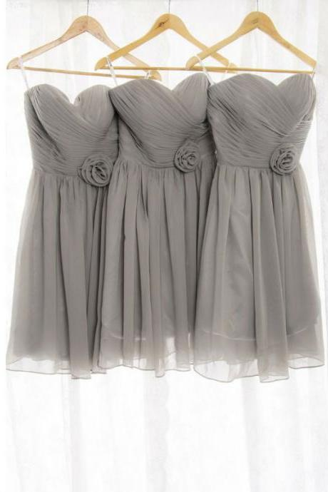 gray bridesmaid dress, short bridesmaid dress, bridesmaid dress, chiffon bridesmaid dress, simple bridesmaid dress, dress for wedding, knee-length bridesmaid dress, cheap bridesmaid dress, BD326