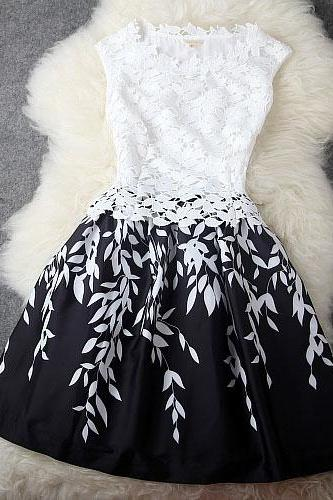 2015 New fashion summer Leaves Stitching Lace Embroidered Dress
