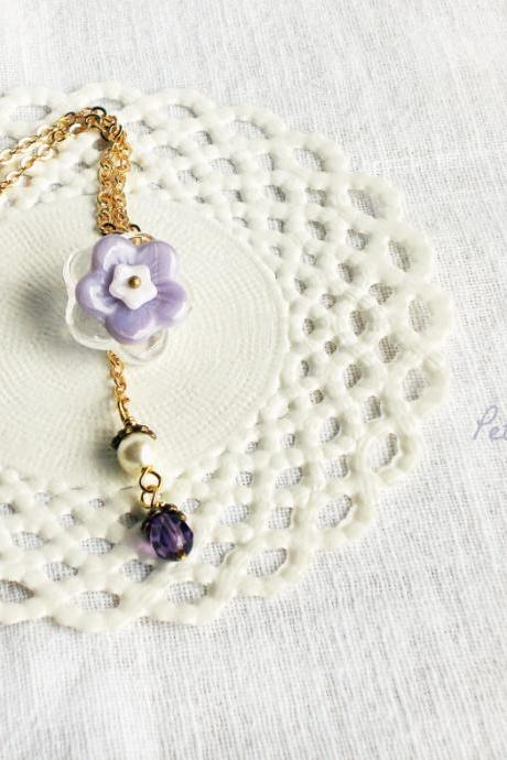 Winter Miracle, Glass flowers necklace, Winter fashion