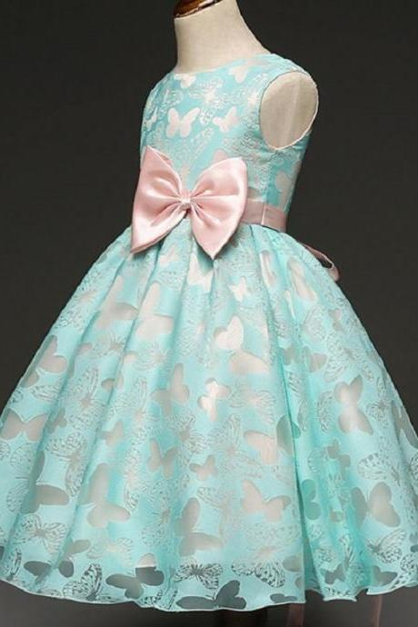 Baby Dress Butterfly Prints Chiffon Formal Wear for Girls Mintgreen Tutu Dresses
