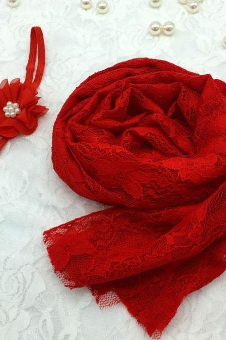 Newborn Props Red Embroidery Baby Photography Accessories Laced Red Wraps with Matching Red Headband