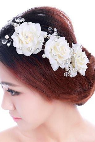 White Bridal Flower Headpiece Rose Flower Accessories for Hair Bridesmaids 3 Pieces