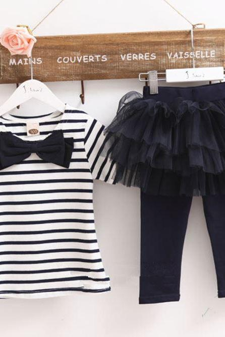 Navy Blue Stripe Tees for Baby Girls with Matching Leggings Ready to Ship Navy Blue Clothing Set