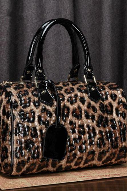 Brown Bag for Women Brown Tote FREE SHIPPING Leopard Traveling Leather Bags Embossed Alli Skin
