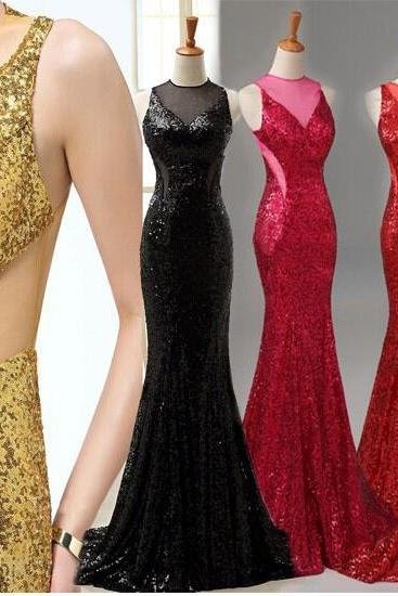 Sexy Mermaid Evening Dresses O-Neck Backless Sequined Party Dresses,Red Golden Black Long Formal evening Gowns