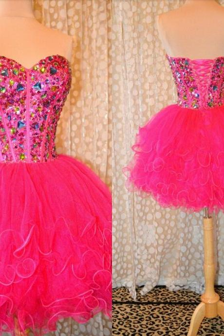 short ball gown homecoming dresses,sweetheart backless crystals prom gowns,lovely tulle party dresses,cocktail dress