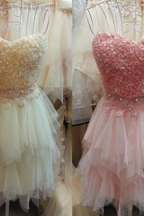 Elegant Short Girl Homecoming Dresses 2015 Sweetheart Backless Appliques Pearls Mini Tulle Cocktail Party Prom Gown
