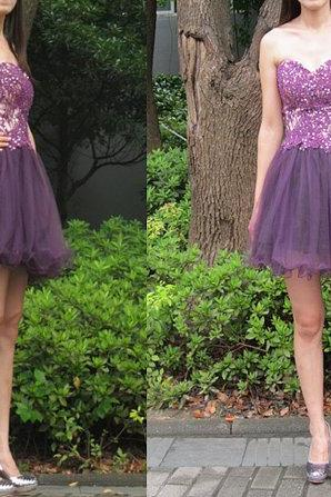 Appliques Beading Short/Mini Homecoming Dresses,Sweetheart Dresses,Homecoming Dresses, Real Made Graduation Dresses,On Sale