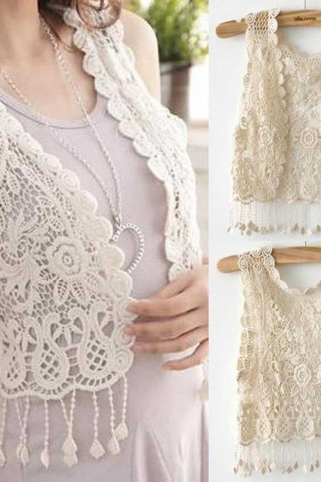 Ladies/Womens Casual Crochet Tassel Hollow out Gilet Waistcoat Cardigan Beige