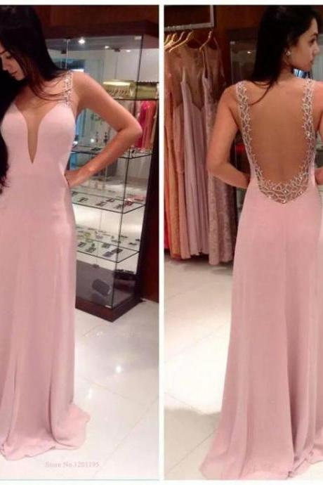 Deep V Neck Open Back Pink Chiffon Long Prom Dress,Off the Shoulder Backless Beadings Prom Dresses,Custom Made Evening Gown Slim dress