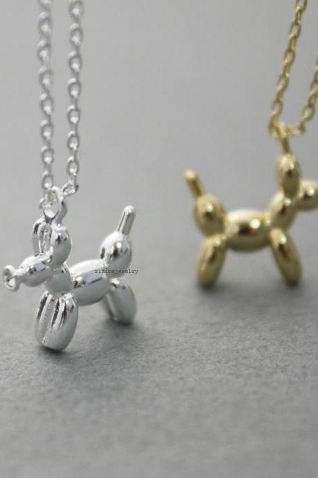 Lovely Balloon Poodle Dog Pendant Necklace in 2 colors, N0567G