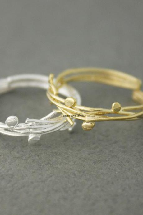 Branch Twig with thin leaves Adjustable Ring in Gold / Silver, R0569G