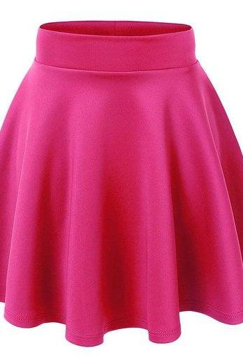 Women Stretch high Waist Flared Plain Pleated mini skirt