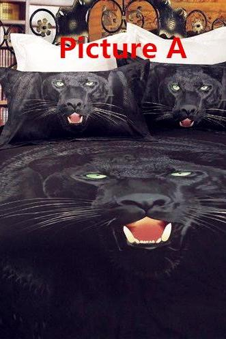 3D three-dimensional printing cotton bedding a family of four cotton canvas 3d active tiger