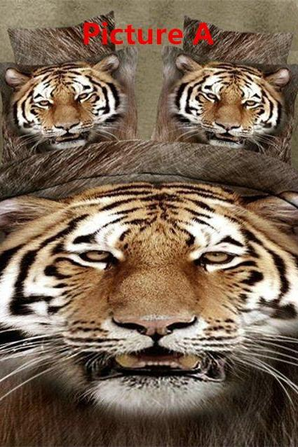 2015 Hot stereoscopic 3d active dispersing printing plain landscape painting animal tiger leopard family of four