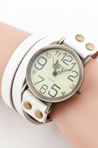 Fashion leather bracelet vintage white woman watch